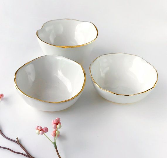 White and Gold Bowl  Jewelry Dish Ring Dish Catchall by ModernMud
