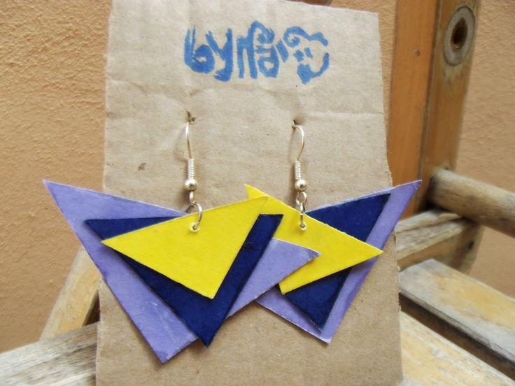 Triangle Paper Earrings #Bynadia #jewels #etsy #papercraft @etsyitaliateam  http://www.etsy.com/it/shop/Bynadialab?section_id=15320199&ref=shopsection_leftnav_1