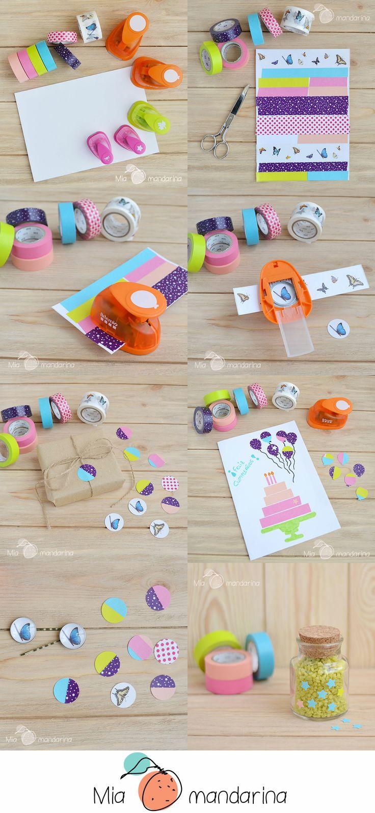 DIY - Pegatinas con Washi Tape y Troqueladoras www.miamandarina.es #miamandarinablog