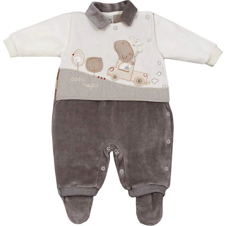 Macacão Recém Nascido e Bebê Menino em Plush Marrom - Sonho Mágico :: 764 Kids | Roupa bebê e infantil