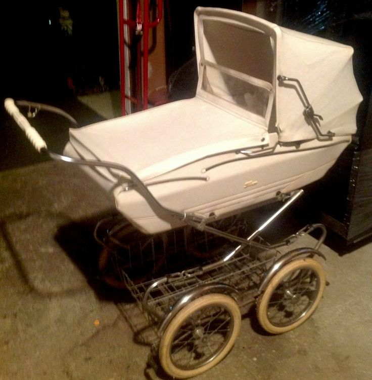 Vintage 70's Peg Perego Rare White Pram Carriage & Stroller Combo ~Gorgeous~