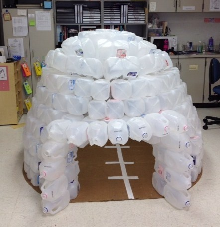 Milk jug igloo in classroom antarctica theme pinterest for How to build an igloo out of milk jugs