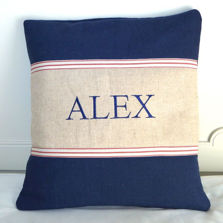 Country Living / Tuppenny House Designs / Personalised Men's Name Cushion