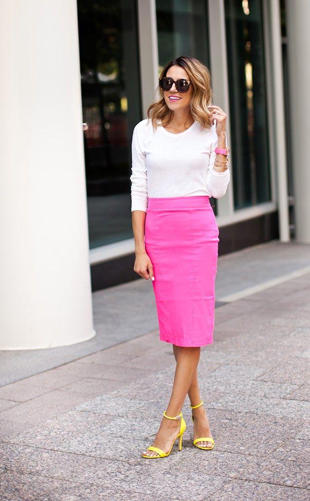 DETAILS.Neon Pink Pencil Skirt(just ordered peach version too) // Mossimo Crew Neck // Prabal Gurung Heels (old similar here &here) // Marc Jacobs Watch// Karen Walker Sunglas...