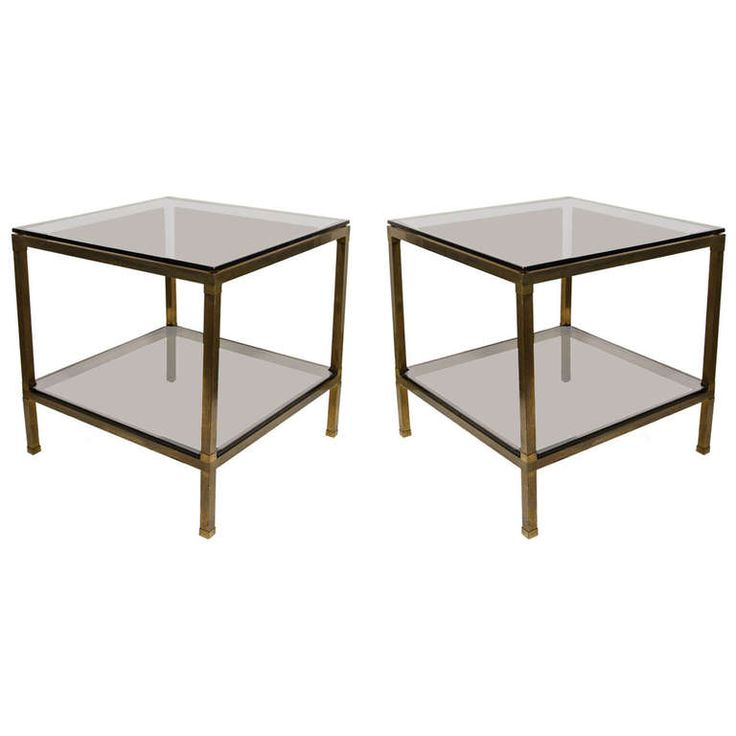 Pair Of Modern Brass U0026 Smoked Glass End Tables Attributed To Guy Lefevre Part 74