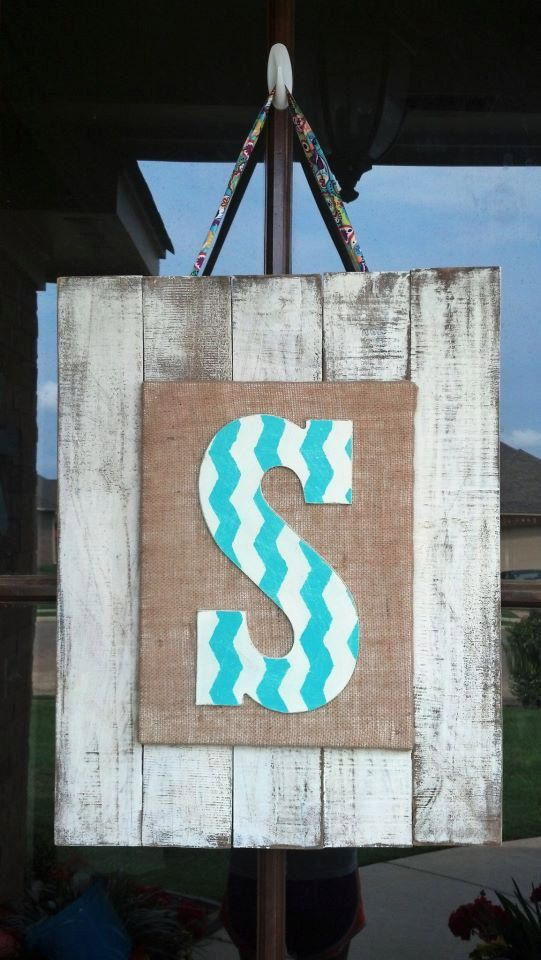 Custom wooden inital door hanger or wall art by for Furniture 5 letters