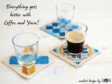 crochet coffee tea placemat pattern inspired by portuguese tiles  -  tunisian crochet, cross stitch, cotton yarn, diy