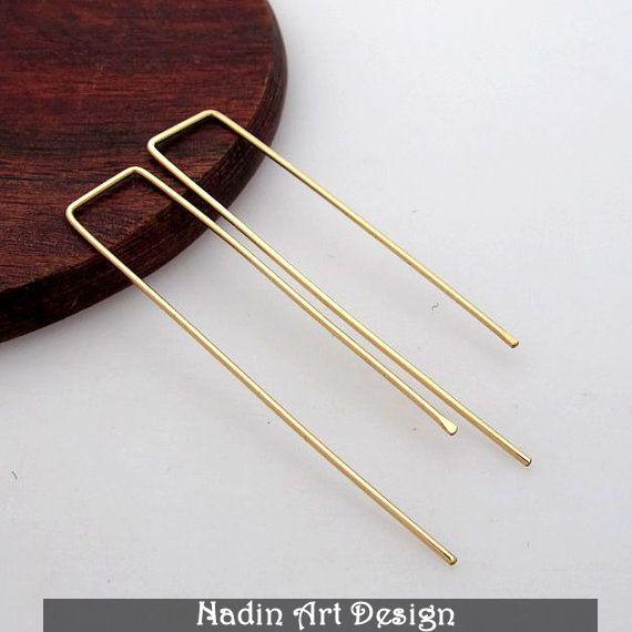 Moderne Goldohrringe / Rechteckige Ohrringe von NadinArtDesign auf DaWanda.com