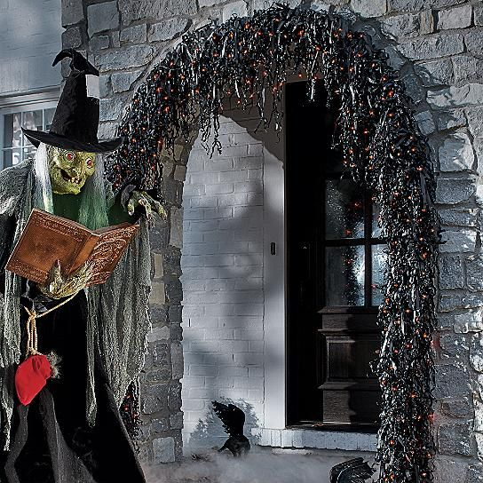 Create a frightfully fantastic effect with our spooky Pre-lit Creepy Garland festooned on railings and around doorways. When a chilling breeze traipses    through, the dangling long black PVC strands make the sound of rustling leaves. Line every balustrade, inside and out and couple it with the Pre-lit Creepy    Wreath for a completely chilling effect.            Spooky black garland that rustles in the wind                Lit with 100 bright orange lights                Crafted from stur...