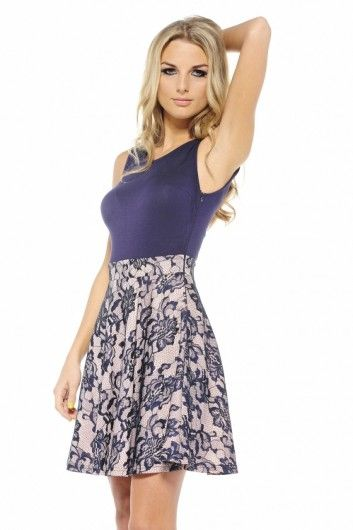 Bonded Lace Skirt Skater Dress