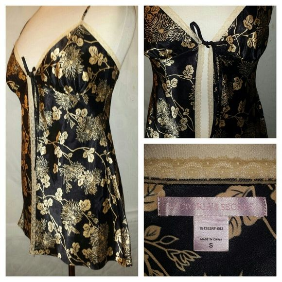 Victorias Secret black&cream silk nightwear Adjustable spaghetti strap, lace neckline on top of bodice lines and also down the front slit and around the bottom. Very simple,  fresh,  soft and beautiful. Fits to Curves Dresses