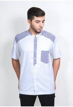 Pria > Baju Muslim > Baju Koko > Koko Lengan Pendek 1090 Putih Bordir Biru > NextUp