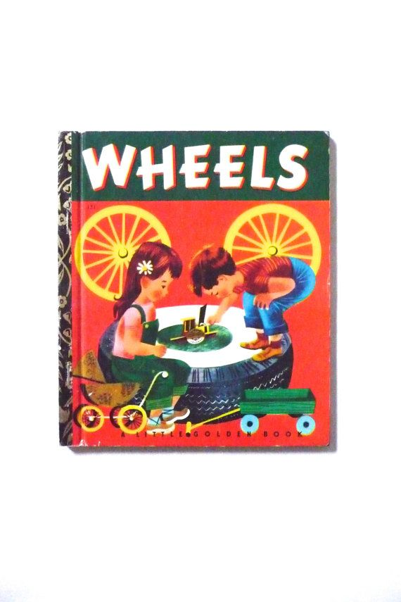 Little Golden Book Wheels Retro 1970s Childrens Book