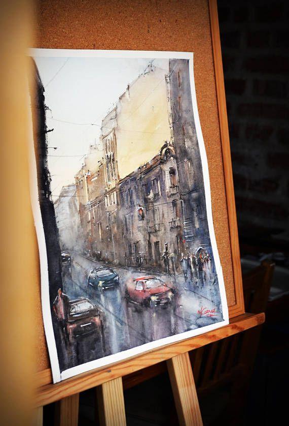 Rainy day - street of Bucharest Watercolor by Maria Cornea