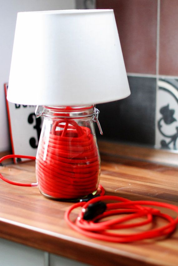 Preserving jar lamp with red textilcable. €50.00, via Etsy.