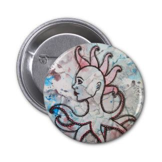 """Octopunk"" pinback button by Sarah Y. Varnam #art #octopus #punk #zazzle"