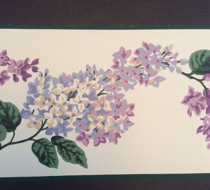 """2 Rolls Waverly Wallpaper Border Lilacs 10 Yards 6.25"""" Pre-pasted Floral Purple #Waverly"""