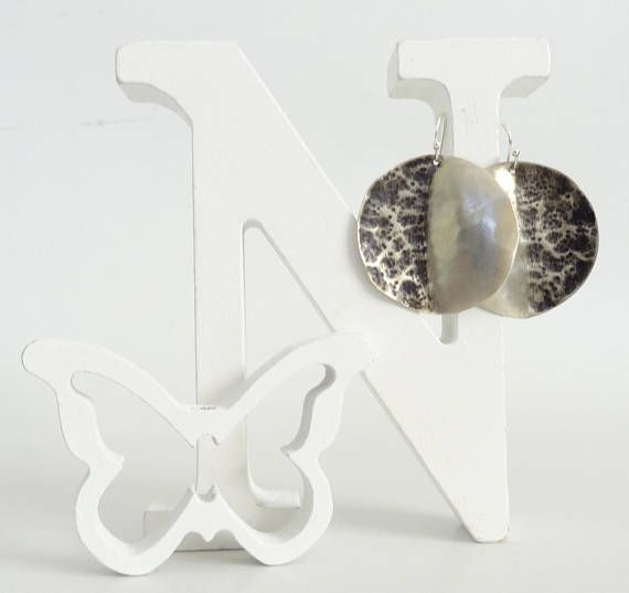 Silver Earrings Boho EarringsHammered EarringsCircle