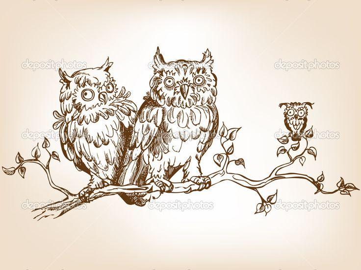 Смешные совы — Стоковая иллюстрация #5708481