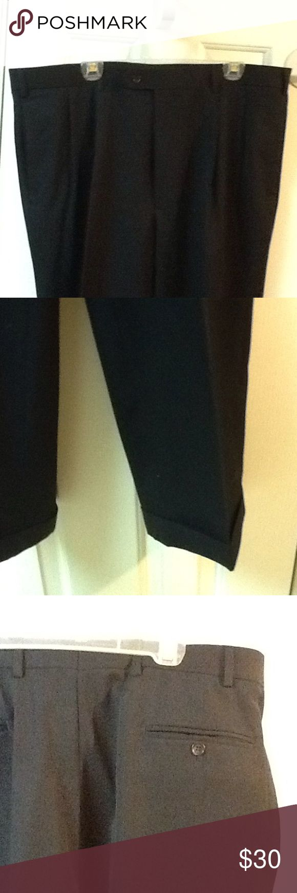 Men's Dress Pants Navy Blue Brooks Brothers 346 Brooks Brothers navy blue wool pants. Pleated and cuffed in great condition. Size 40 X 32. Dry clean Brooks Brothers Pants Dress