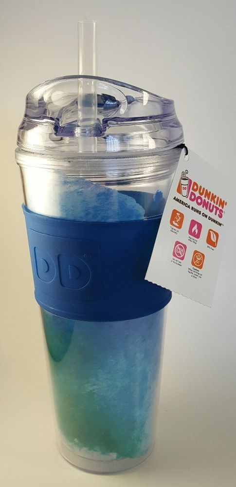 24f43bd3215 NEW Dunkin Donuts 24 Oz Acrylic Travel Mug Blue Green Tumbler Hot Cold BPA  Free #DunkinDonuts