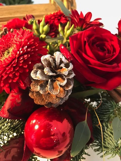 Christmas flowers, coffee table flowers, posy style arrangement, seasonal flowers ,christmas delivery, gifts