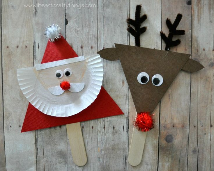 santa and reindeer stick puppets christmas crafts christmas crafts preschool christmas. Black Bedroom Furniture Sets. Home Design Ideas