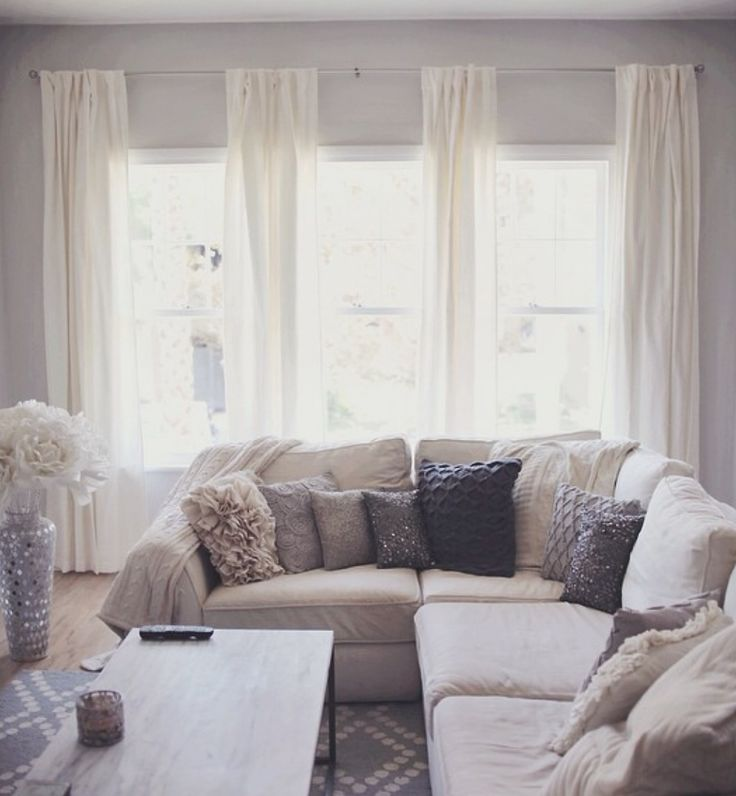 white living room curtains. Like this four panel curtain style for our three windows in the living room  With Best 25 Living curtains ideas on Pinterest