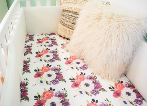 Purple floral or boho crib sheet girls baby bedding - shabby chic - garden floral prints - modern and chic pretty flowers  - feminine sheet
