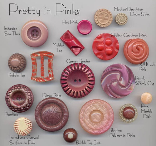 Pretty in Pink Vintage Buttons by YaddaYaYa, via Flickr