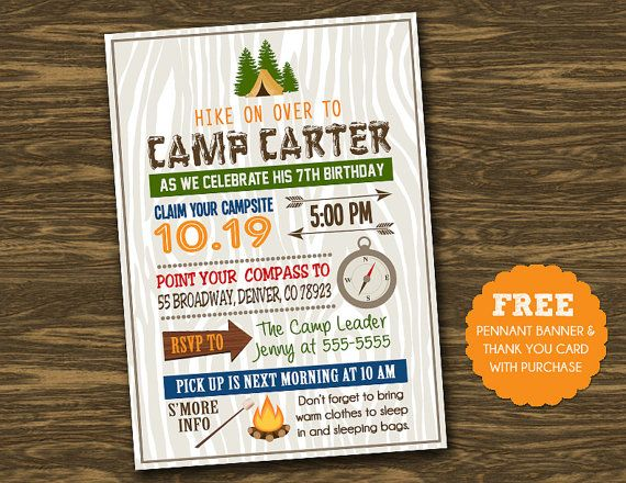 best images about camping party invites on   birthday, party invitations