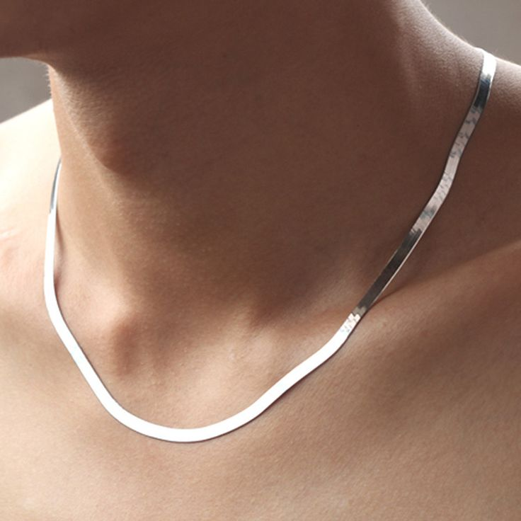 New European Exaggerated Big Brand 925 Sterling Silver Necklace Men flat bone snake Silver chain Necklace