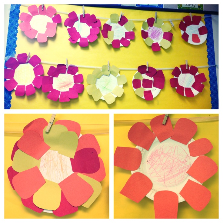 Paper plate flower - have kids color the middle of the plate and then glue flower petals on (fine motor, cognitive and math activity)