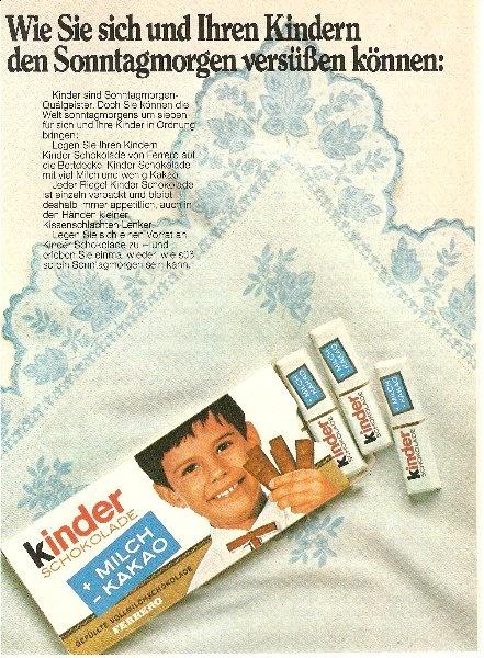 Für alle, die glauben, es hätte früher nur ein Junge für #Kinderschokolade Werbung gemacht. ;-) ... diese #Werbung stammt von 1970.