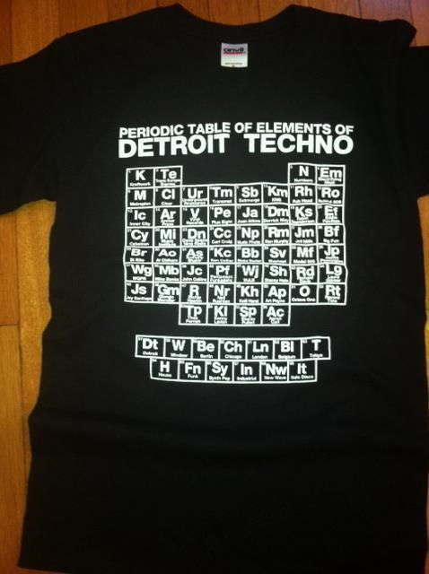 Black t-shirt with the Elements of Detroit Techno in white.