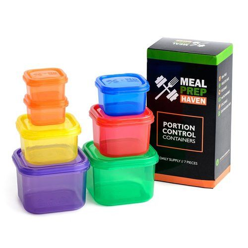 Meal Haven - 7 PIECE PORTION CONTROL CONTAINER KIT WITH GUIDE, MULTI-COLORED SYSTEM, COMPARABLE TO 21 DAY FIX