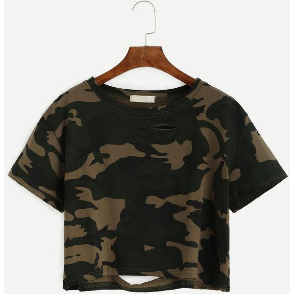Camo Print Distressed Crop T-shirt (€6,26) ❤ liked on Polyvore featuring tops, t-shirts, green, green t shirt, crop t shirt, cotton t shirts, camo crop top and summer crop tops