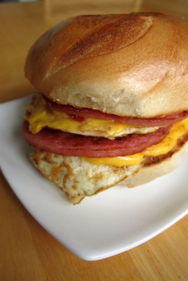 "New Jersey ""breakfast sandwich"", made up of pork roll, egg and cheese on a roll."