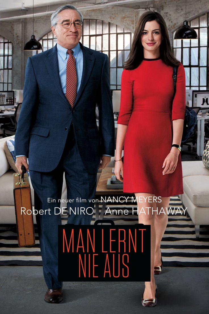 Man lernt nie aus aus dem Jahr 2015 ist ein Film von  Nancy Meyers und mit den Filmstars  Robert De Niro  Anne Hathaway . Jetzt online schauen, Film und Filmstars bewerten, teilen und Spass haben auf filme.io