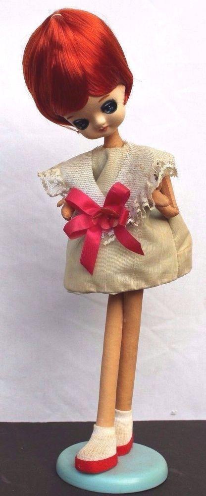 Vintage Mod Big Eye Pose Doll Cloth Boudoir Bradley Japan 60's Stockinette