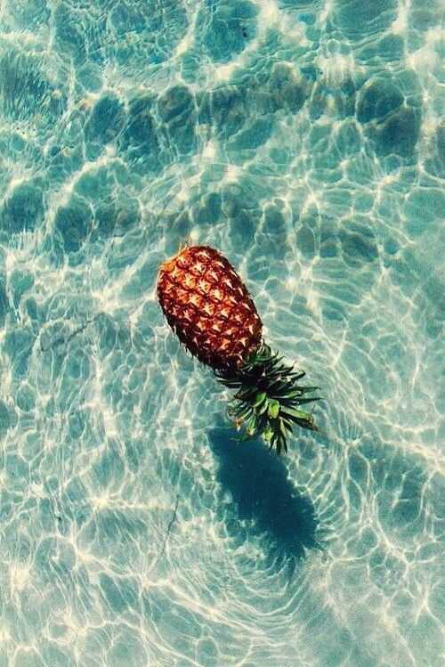 aqua, artsy, beach, beautiful, blue, clear water, fruit, good vibes, healthy, in my head, pineapple, pool, positive vibes, sea, summer, sunny, tropical, tumblr, water, we heart it, weheartit