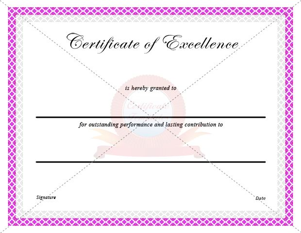 Certificate Of Excellence   Certificate Templates  Certificate Of Excellence Template