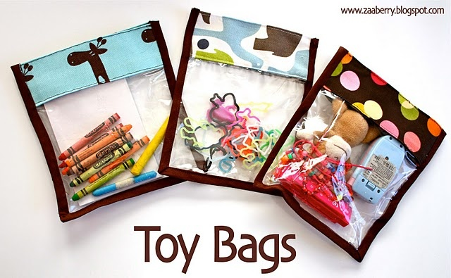 toy bag tutorial. these would be perfect to take on a long drive.