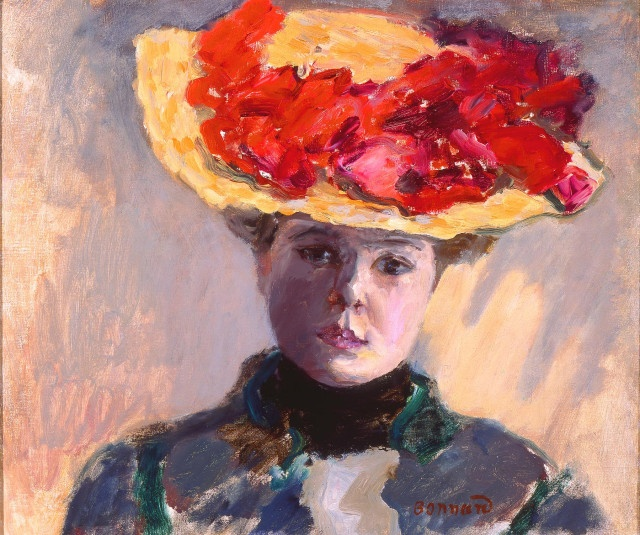 Pierre Bonnard (French, 1867–1947), Girl in Straw Hat (Femme au Chapeau Rouge), 1903. Oil on canvas; 15 1/8 x 17 5/8 in. Milwaukee Art Museum, Gift of Mr. and Mrs. Harry Lynde Bradley M1958.13. Photo credit P.  Richard Eells. ©2010 Artists Rights Society (ARS), New York / ADAGP, Paris. http://blog.mam.org/2012/07/10/from-the-collection-girl-in-straw-hat-femme-au-chapeau-rouge-by-pierre-bonnard/