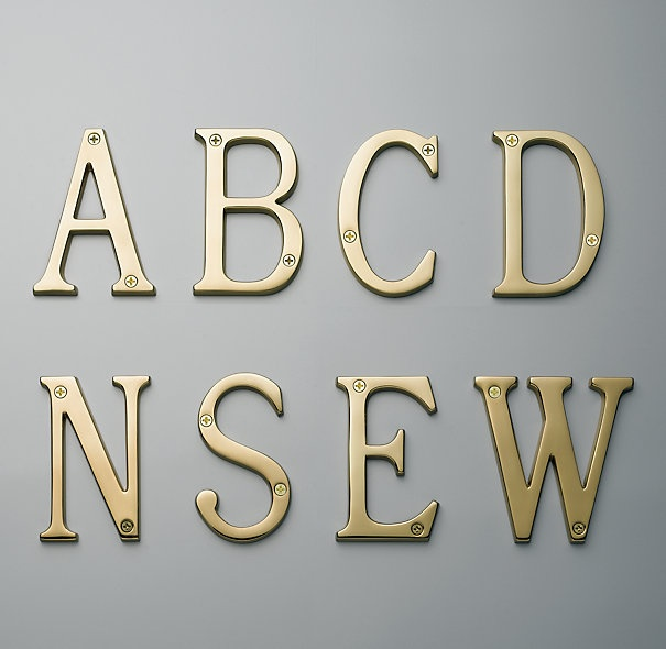 Got the letters. Need the hangers :) @Cecilia Schiera: Restoration Hardware, Brass Houses, Plays Rooms, Exterior Houses, Houses Letters, Products, Hardware Mailbox, Gold Letters, Houses Numbers
