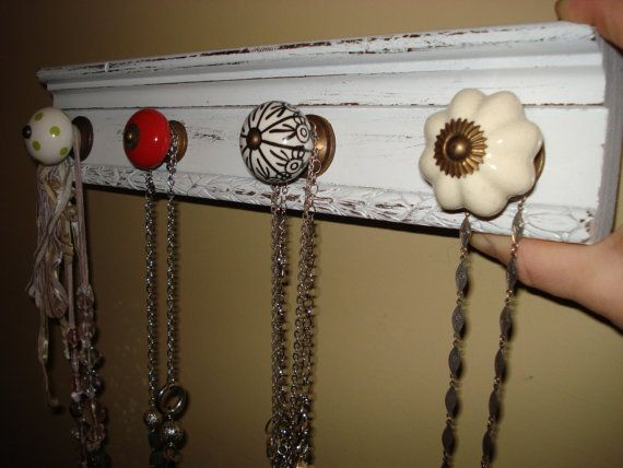 Necklace Organizer with Antique Knobs
