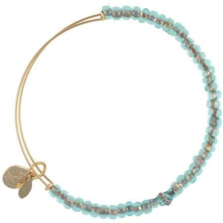 Alex and Ani Shimmering Sea Bead Expandable Wire Bangle Ocean Mist Yellow Gold