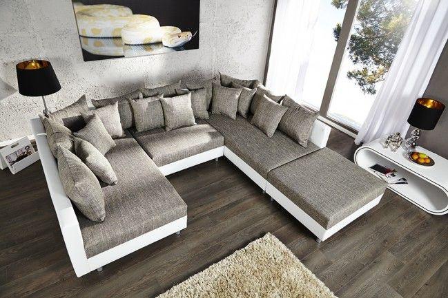 Design Sofa LOFT XXL mit Hocker weiß Strukturstoff grau inkl. großem Kissenset  --   Riess-Ambiente.de