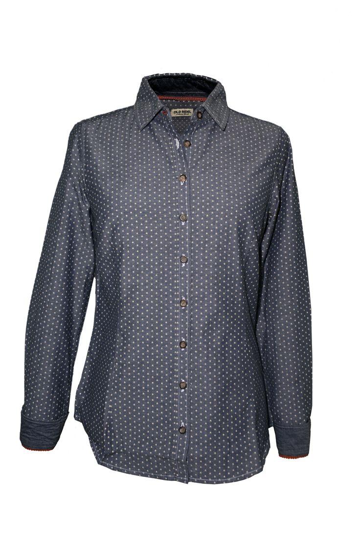 Camisa Chambra estrellas azul y blanca, 100% algodón, mujer www.oldridel.com
