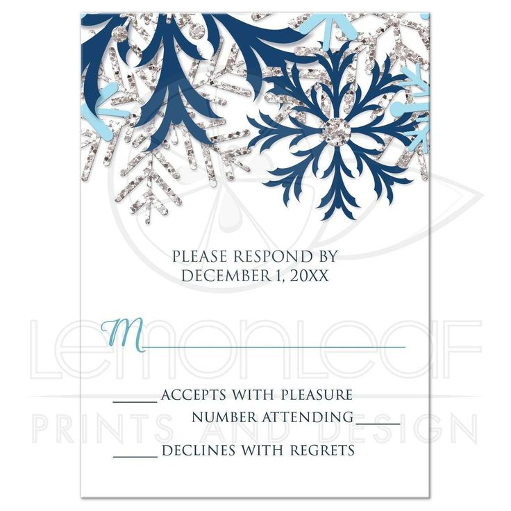 RSVP Reply Cards - Winter Snowflake Blue Silver